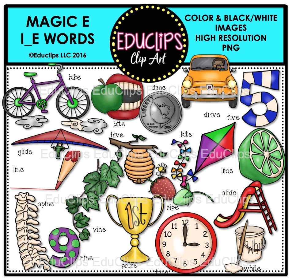 Magic E i_e Words Clip Art Bundle (Color and B&W) | Welcome to ...