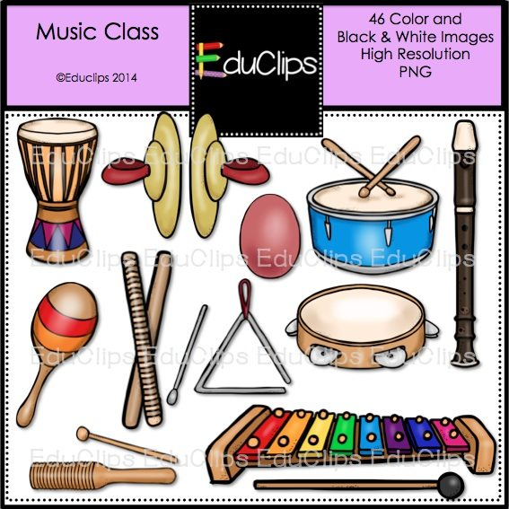 Music Class Clip Art Bundle (Color and B&W) | Welcome to Educlips ...