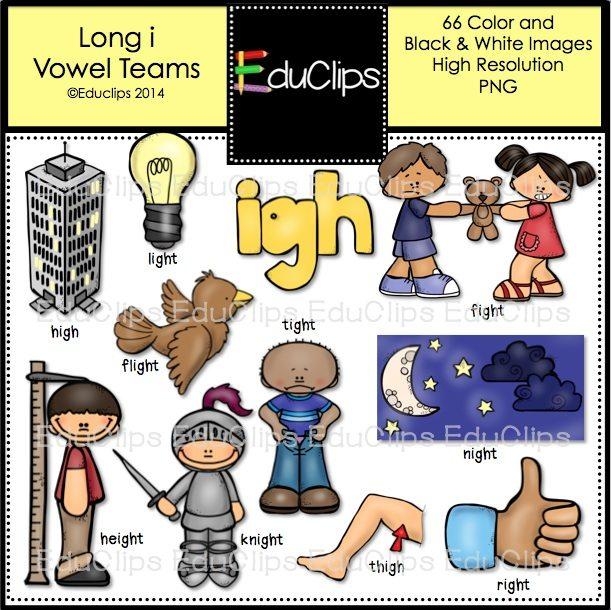 Long i with igh vowel teams long i clip art super bundle color