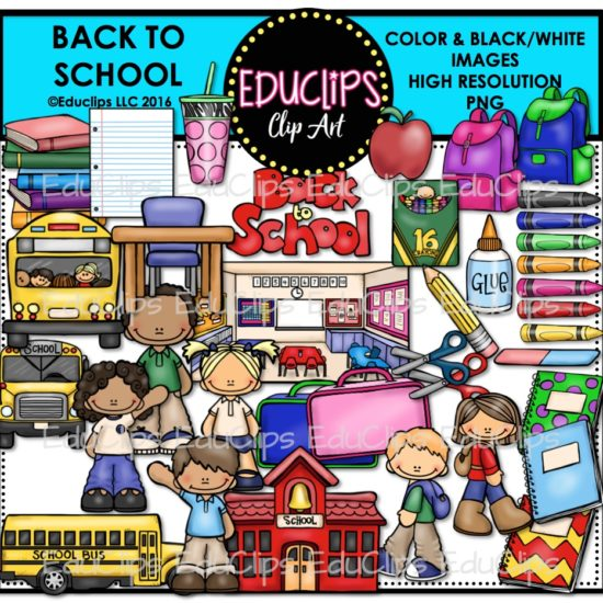 Back To School Clip Art Bundle (Color And B&W)
