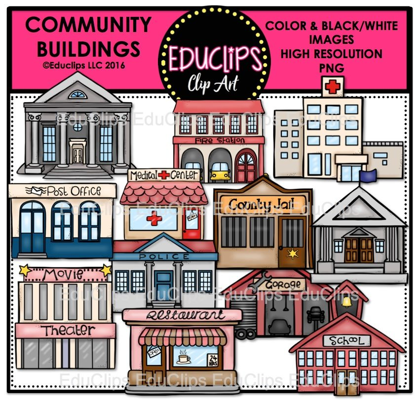 Community Buildings Clip Art – Cliparts