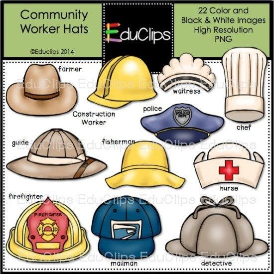 Community Worker Hats Clip Art Bundle (Color and Bu0026W ...