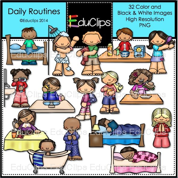 Daily Routines Clip Art Bundle Color And B Amp W Welcome