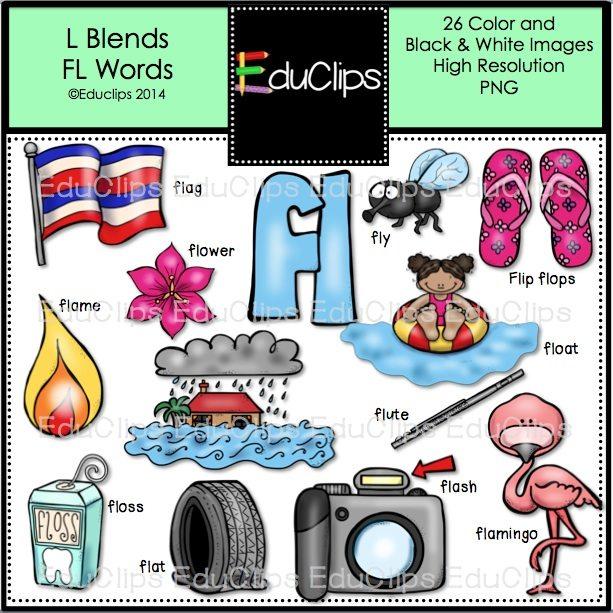 L Blends Fl Words Clip Art Bundle Color And Bw on Reading Cl For Kids