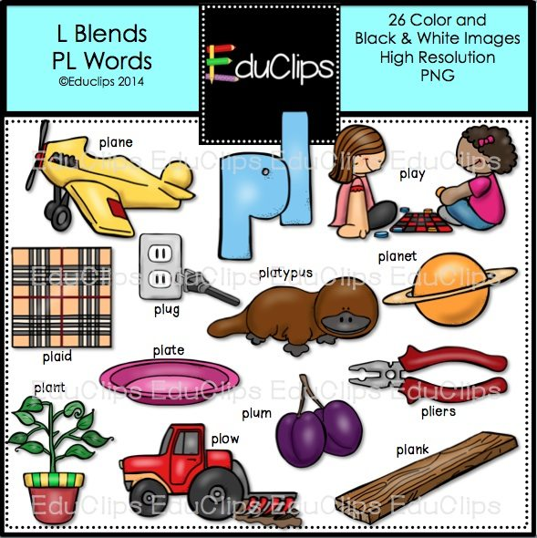 L Blends PL Words Clip Art Bundle (Color and B&W)   Welcome to ...