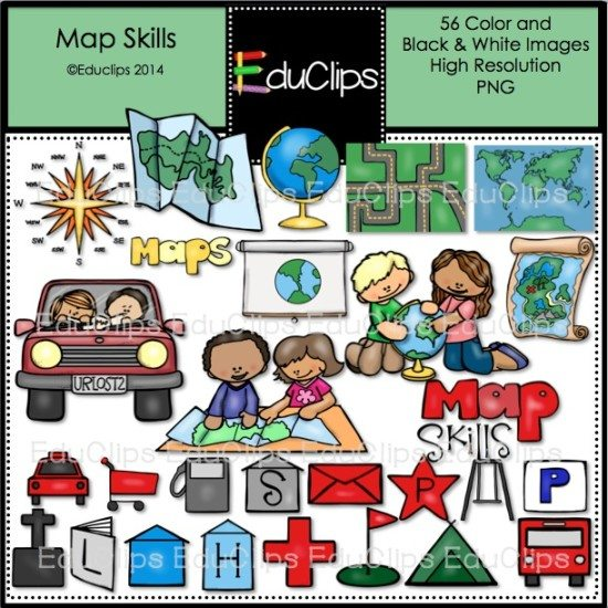 Map Skills Clip Art Bundle (Color and B&W) | Welcome to Educlips Store