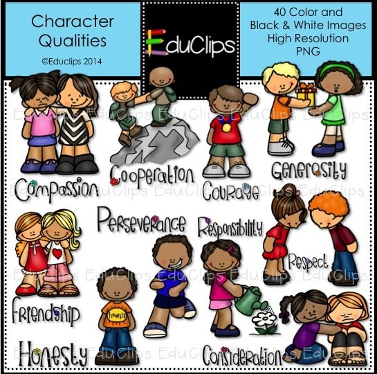 Home / Products / Character Qualities Clip Art Bundle (Color and B&W)