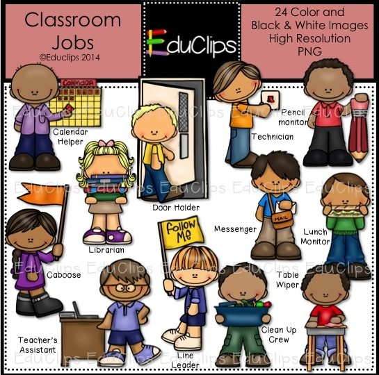 Classroom Jobs Clip Art Bundle (Color and B&W) | Welcome to Educlips ...