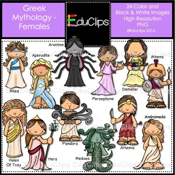 Greek Mythology Females Clip Art Bundle Color And B Amp W