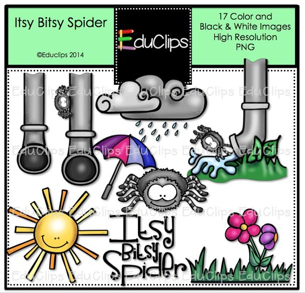 home products itsy bitsy spider nursery rhyme clip art bundle