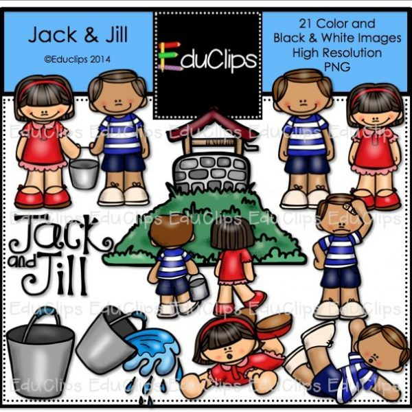 Jack and jill nursery rhyme clip art bundle color and b w for Jack and jill stories