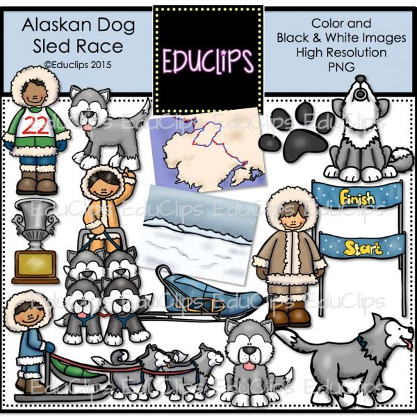 ... / Products / Alaskan Dog Sled Race Clip Art Bundle (Color and B&W