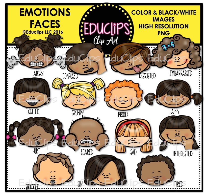 Emotions Faces Clip Art Bundle Color And BampW Welcome