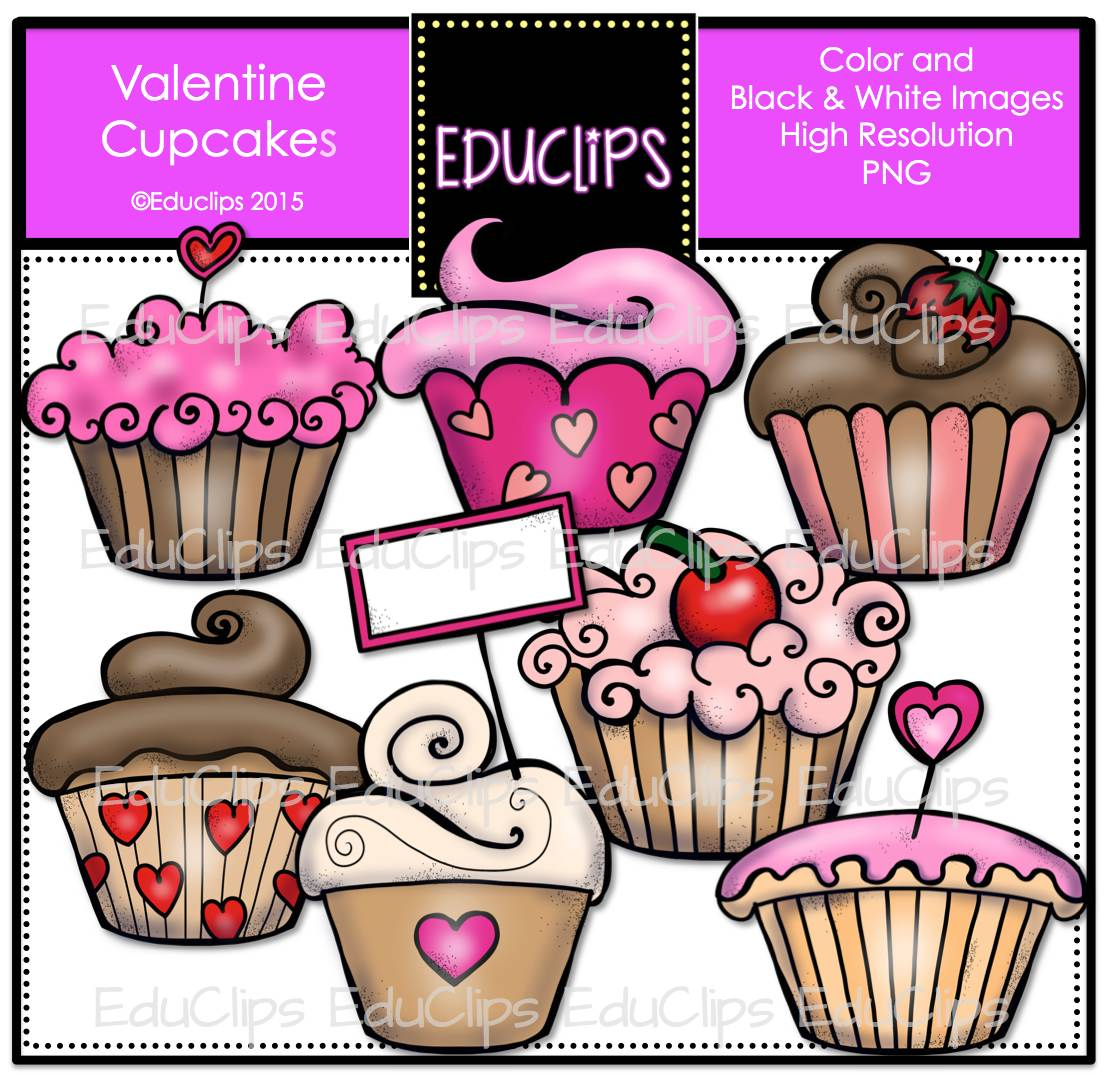 Color and art - Valentine Cupcakes Clip Art Bundle Color And B W