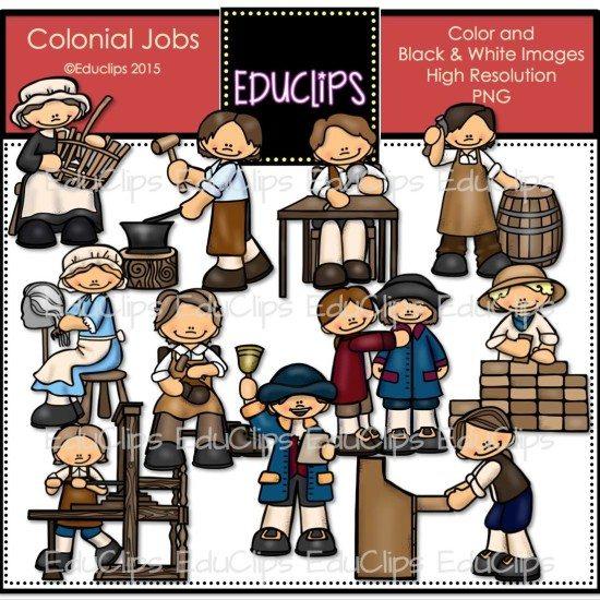 Cabinet Maker Clip Art: Colonial Jobs Clip Art Bundle (Color And B&W)