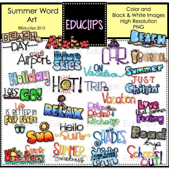 Summer Words Clip Art Bundle (Color and B&W) | Welcome to ...