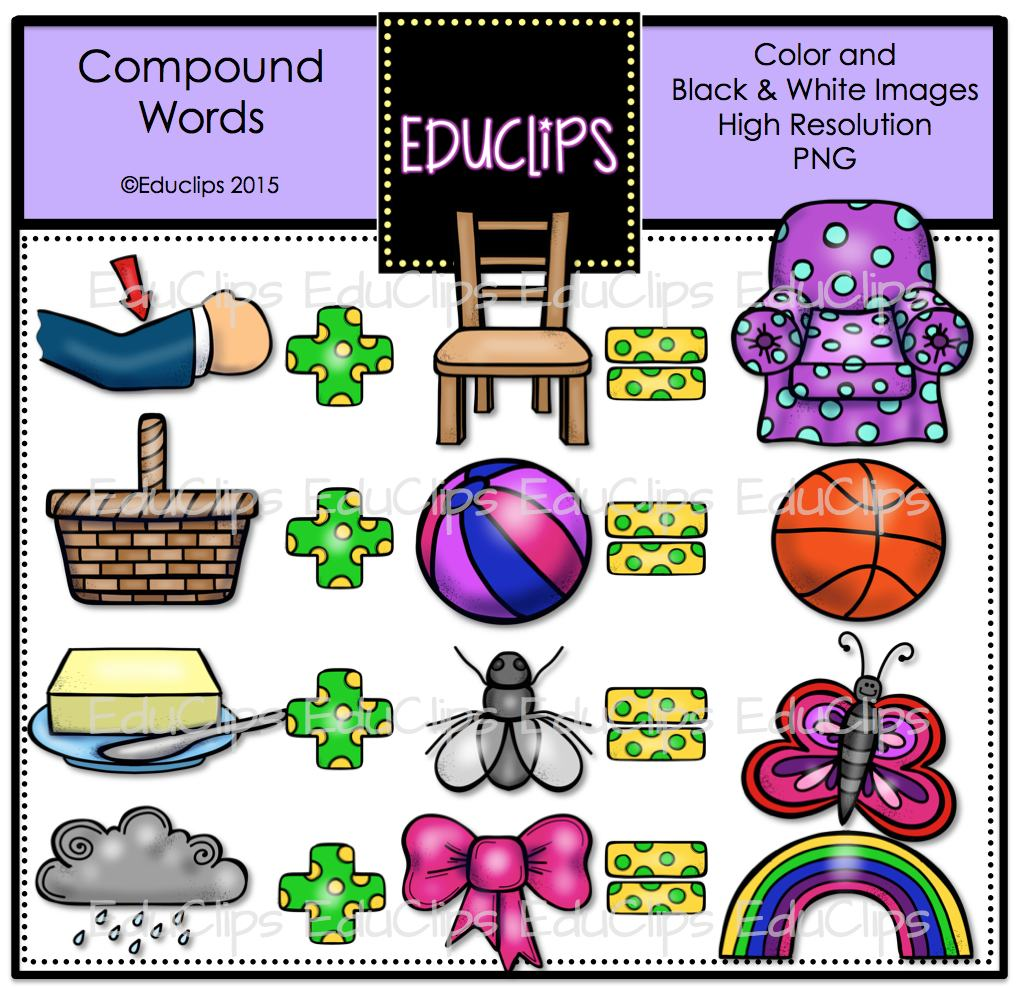 Compound Words Clip Art Bundle Color And B Amp W Welcome