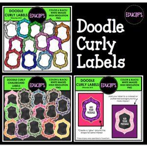 Doodle Curly Labels