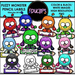 Fuzzy Monster Pencil Labels