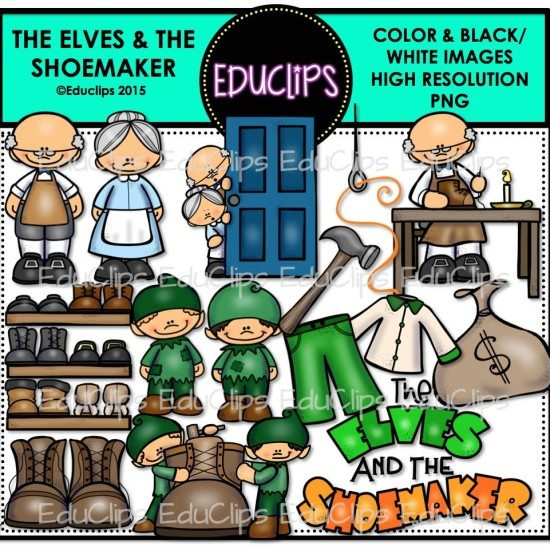 The Elves And The Shoemaker Clip Art Bundle (Color and B&W ...