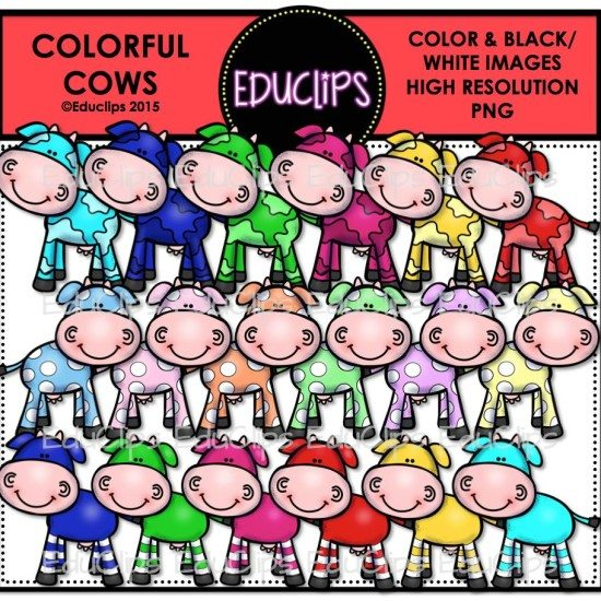 Colorful Cows Clip Art Bundle (Color and B&W) | Welcome to Educlips ...