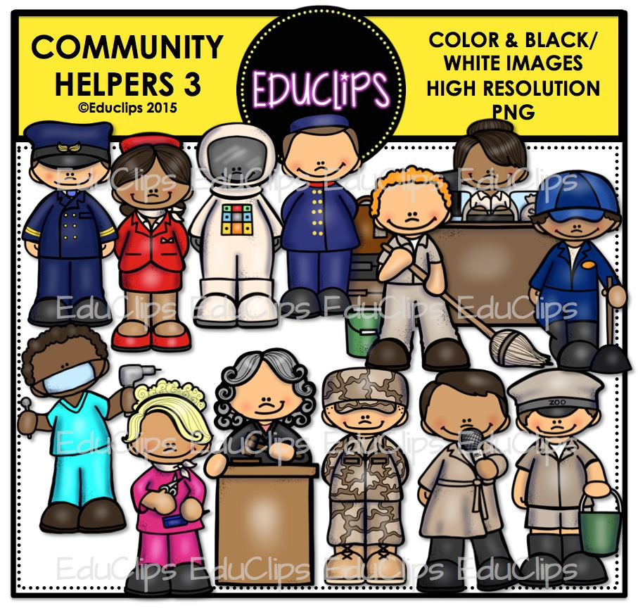 Community Helpers 3 Clip Art Bundle (Color and B&W) | Welcome to ...
