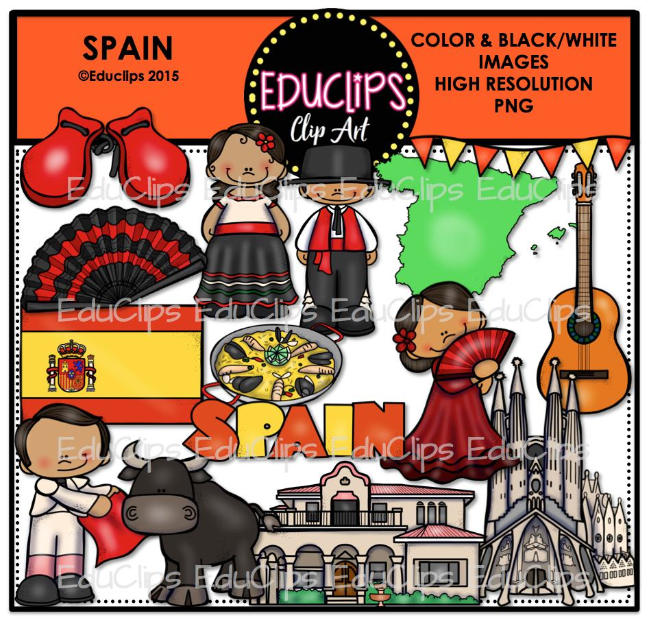 spain clip art bundle color and b u0026w welcome to educlips store