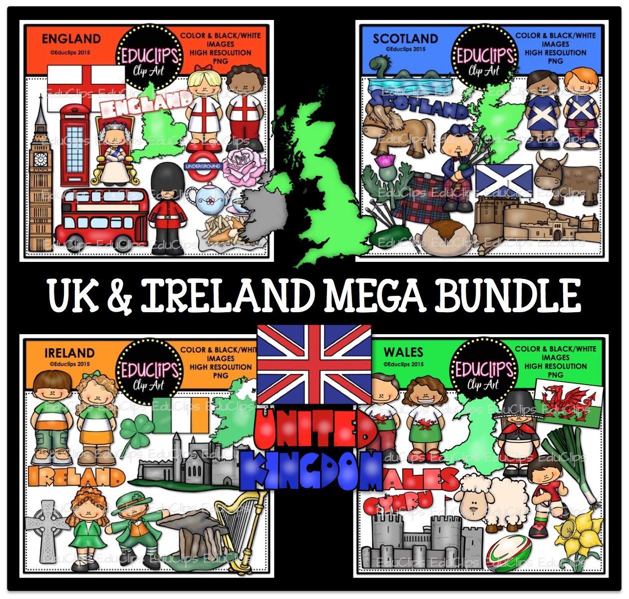 uk u0026 ireland clip art bundle color and b u0026w welcome to educlips