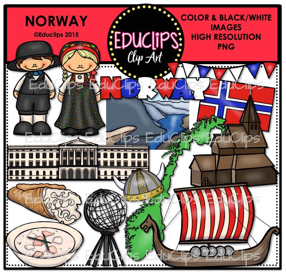 Norway Clip Art Bundle Color And BW Welcome To Educlips Store - Norway map clipart
