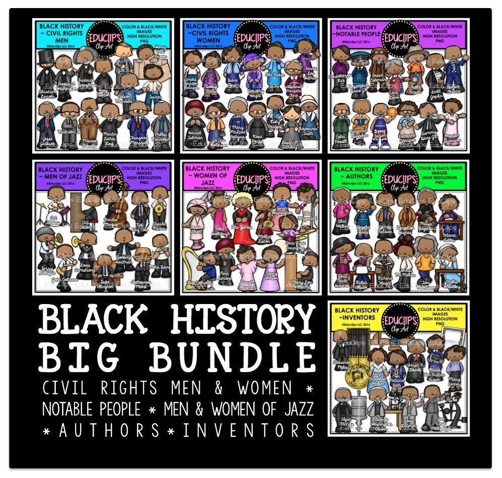 Black History BIG Clip Art Bundle (Color and B&W) | Welcome to ...