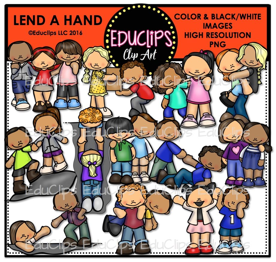 Lend A Hand Clip Art Bundle (Color and B&W) | Welcome to ...  Lend A Hand Cli...