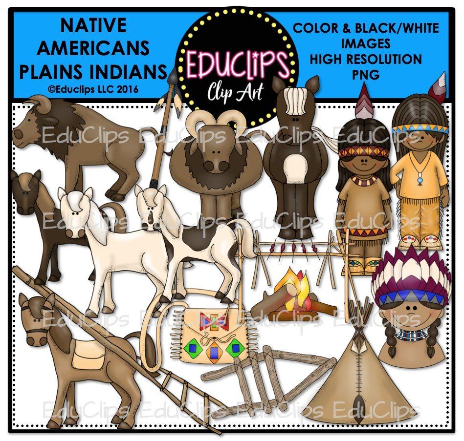 native americans plains indians clip art bundle color and b u0026w