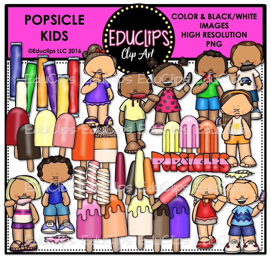 Popsicle Kids Clip Art Bundle (Color and B&W) | Welcome to ...
