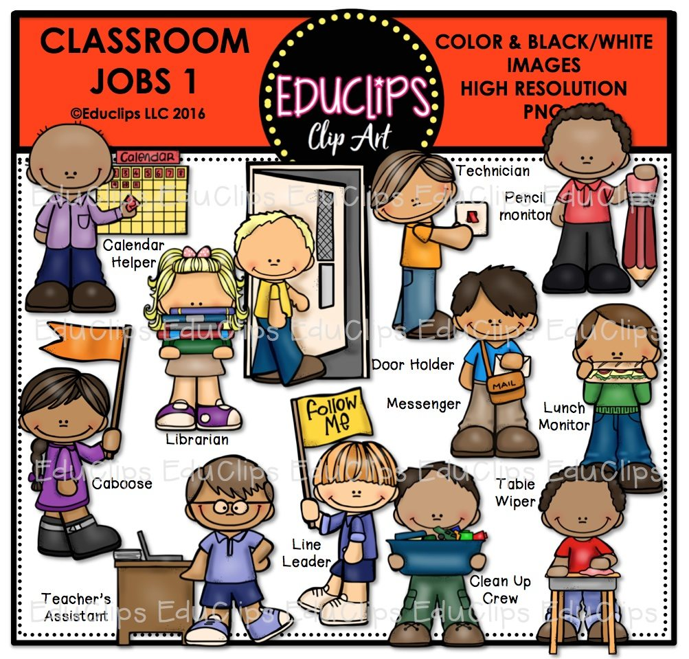 Classroom jobs 1 clip art bundle color and b w welcome for Arts and craft jobs