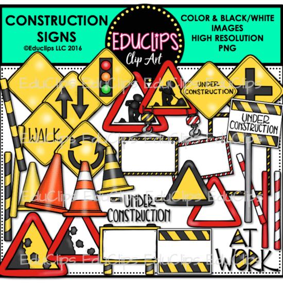 construction signs clip art bundle color and b w