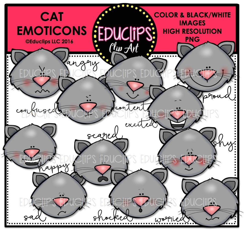 Cat Emoticons Clip Art Bundle (Color and B&W) | Welcome to ...