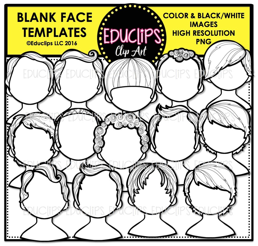 Blank Face Templates Clip Art Bundle Color and BW – Blank Face Templates