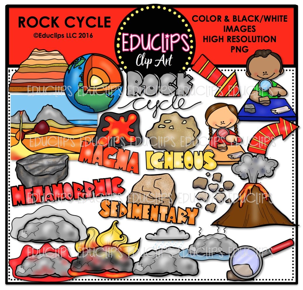 Color and art - Rock Cycle Clip Art Bundle Color And B W