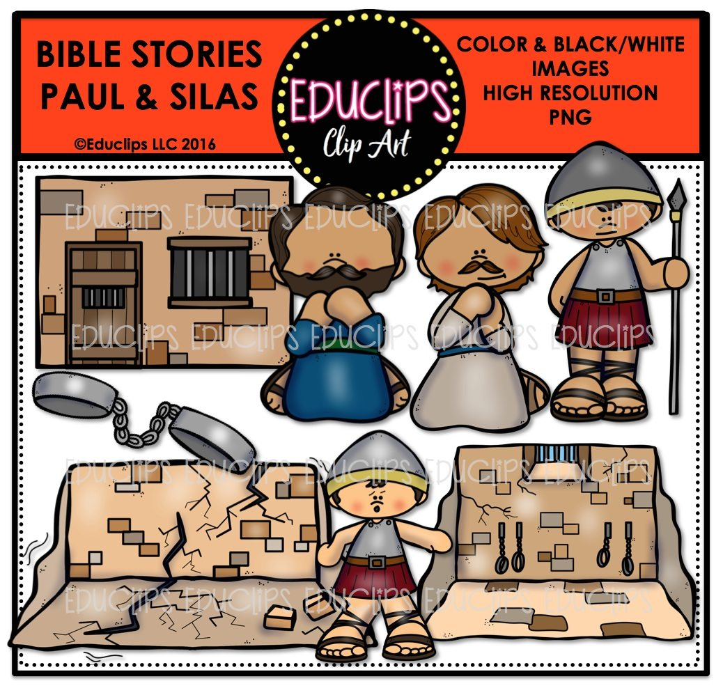 bible stories u2013 paul u0026 silas clip art bundle color and b u0026w