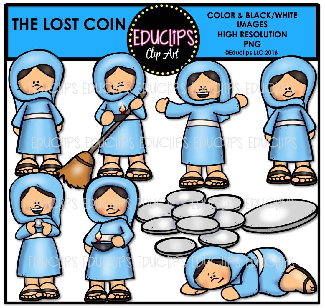bible stories u2013 the lost coin clip art bundle color and b u0026w