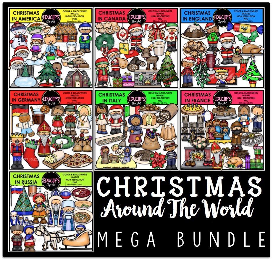 Christmas Around The World Clip Art Mega Bundle (Color and B&W ...