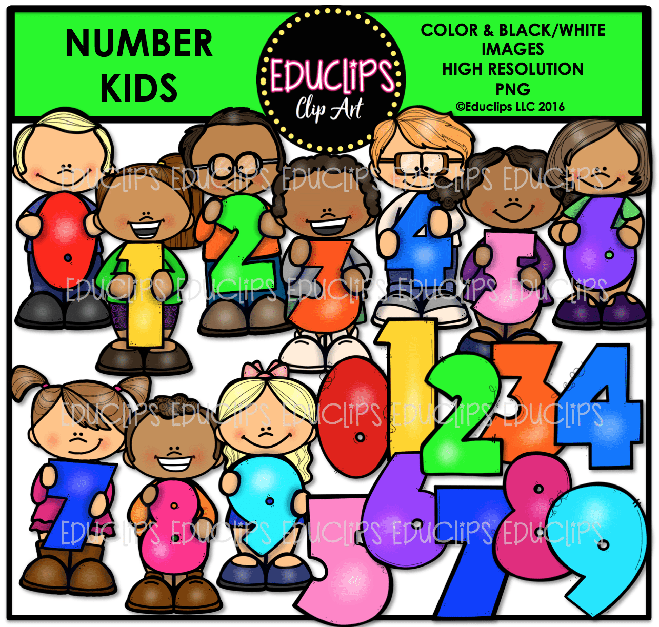 kids using numbers clip art big bundle color and b u0026w welcome