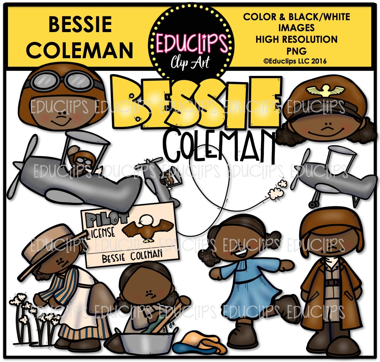 Bessie Coleman Clip Art Bundle (Color and B&W) | Welcome to ...