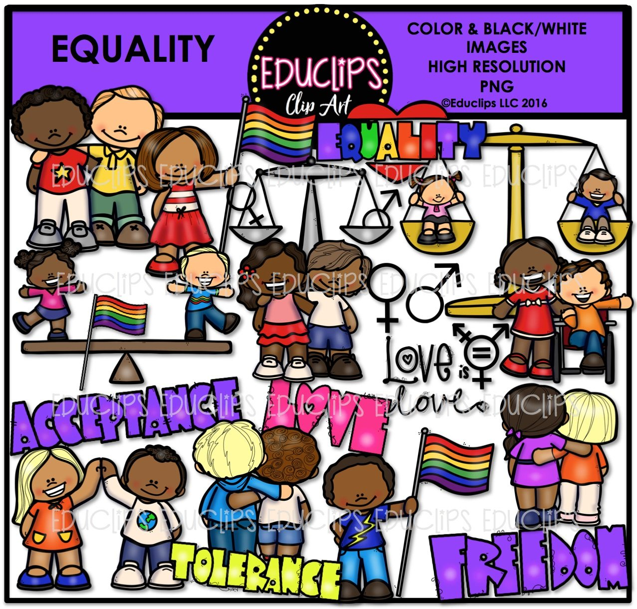 Color and art - Equality Clip Art Bundle Color And B W