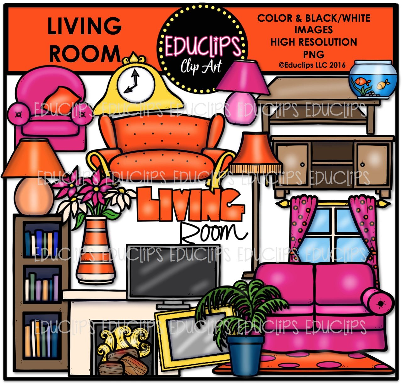 Parts Of A HouseLiving Room Clip Art Bundle Color BW