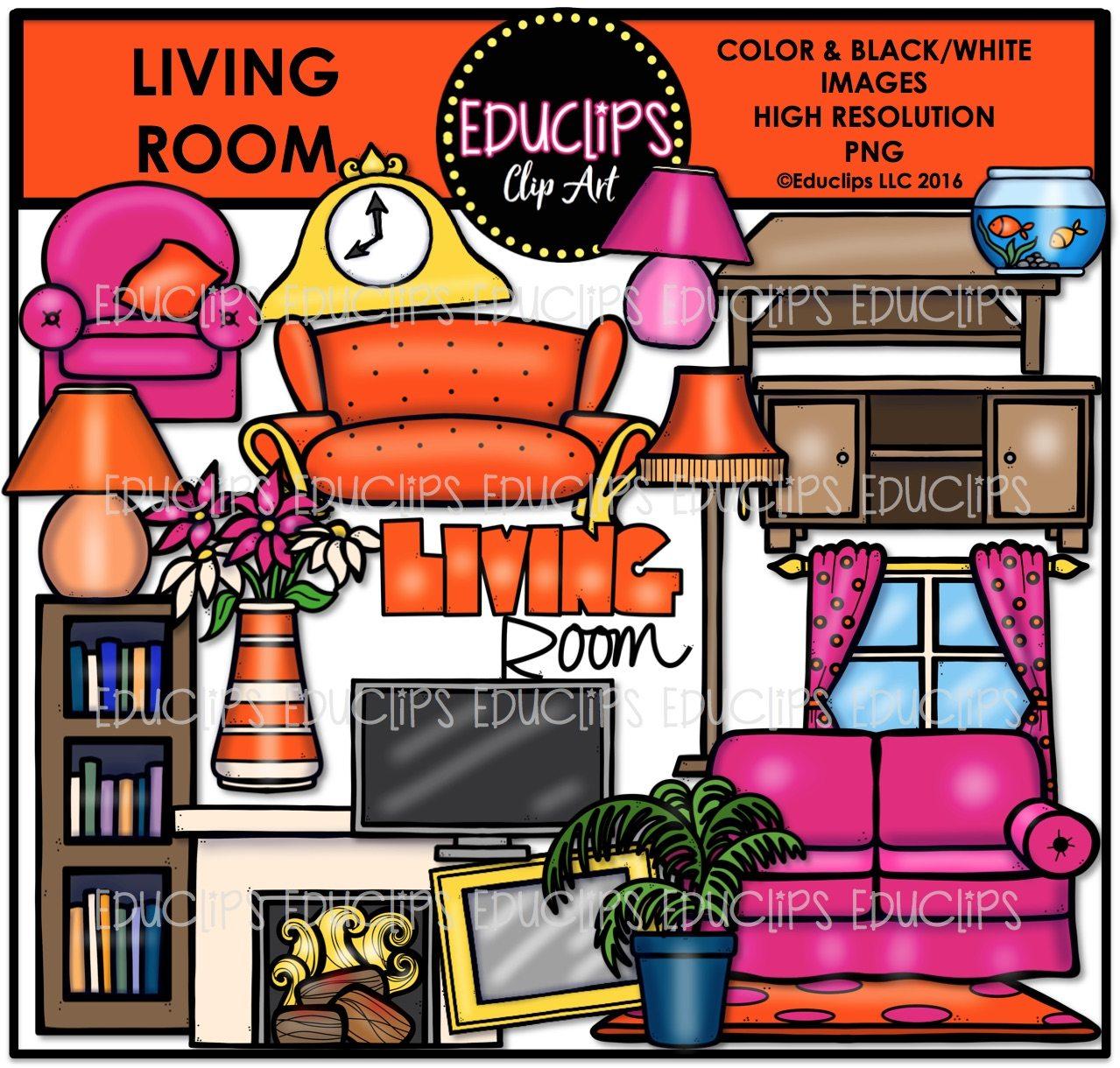 Parts Of A HouseLiving Room Clip Art Bundle Color BW