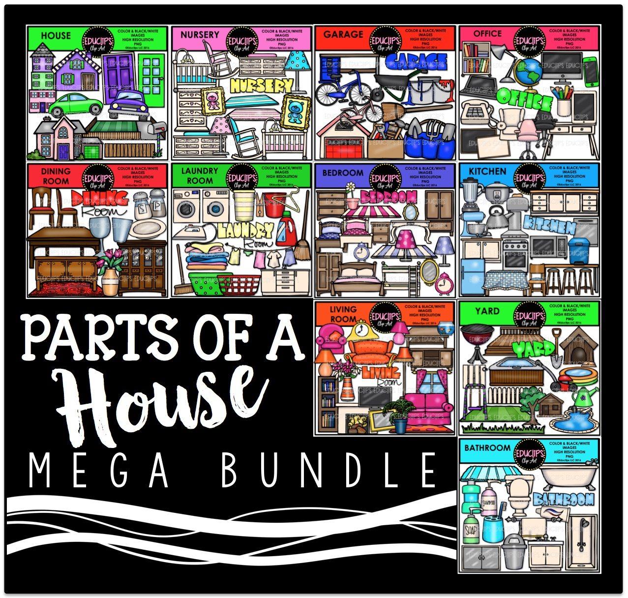 Parts Of A House Clip Art Mega Bundle Educlips Clipart