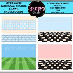 Super Simple Bathroom, Kitchen & Lawn Backgrounds