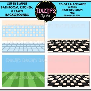 Super Simple Bathroom, Kitchen & Lawn Backgrounds