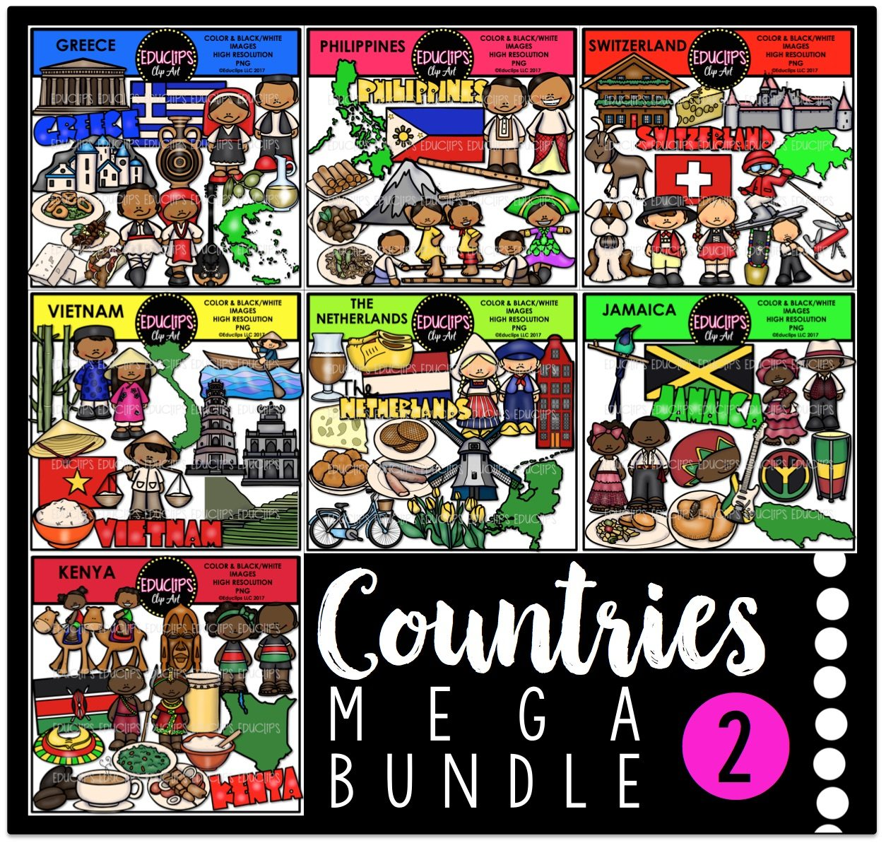 Color and art - Countries 2 Clip Art Mega Bundle Color And